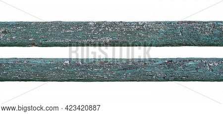 Closeup Detail Texture Of Blue Painted Weathered Planks Of Wood Isolated On White Background