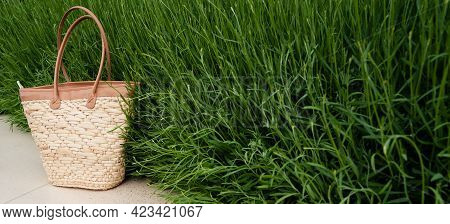 Front View Closeup Of Empty Brown Wicker Bag With Green Grass In The Background