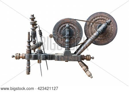 Front View Closeup Of Balkan Traditional Wooden Old Handloom Weaver Isolated On White Background