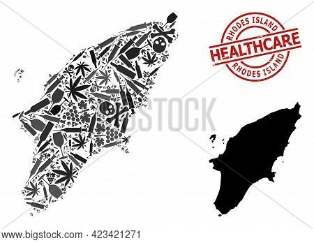 Vector Addiction Collage Map Of Rhodes Island. Rubber Health Care Round Red Seal Stamp. Concept For