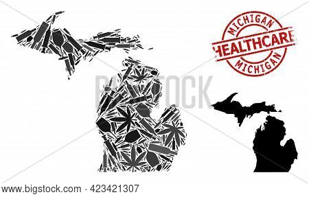 Vector Addiction Composition Map Of Michigan State. Scratched Health Care Round Red Stamp. Concept F