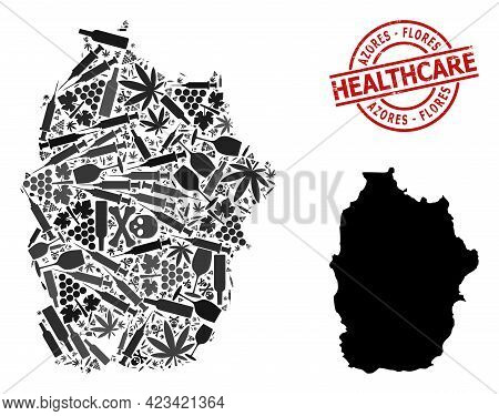 Vector Addiction Composition Map Of Azores - Flores Island. Rubber Health Care Round Red Stamp. Conc