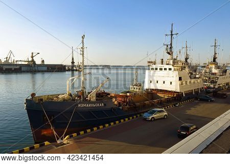 Odessa, Ukraine - August 2, 2015: Fishing Trawler Moored In The Odessa Seaport, In Ukraine.