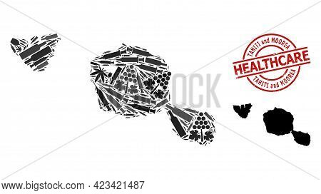 Vector Drugs Mosaic Map Of Tahiti And Moorea Islands. Scratched Health Care Round Red Seal Stamp. Te