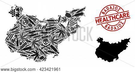 Vector Narcotic Composition Map Of Badajoz Province. Rubber Health Care Round Red Watermark. Templat