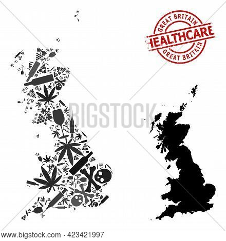 Vector Narcotic Mosaic Map Of Great Britain. Rubber Health Care Round Red Seal Stamp. Template For N