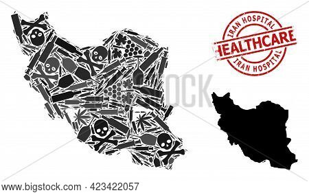 Vector Narcotic Collage Map Of Iran. Grunge Health Care Round Red Seal. Concept For Narcotic Addicti