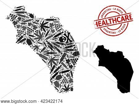 Vector Narcotic Composition Map Of Argentina - La Rioja. Grunge Health Care Round Red Watermark. Con