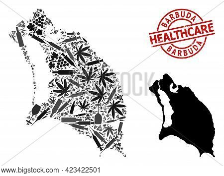 Vector Narcotic Collage Map Of Barbuda Island. Grunge Healthcare Round Red Seal Stamp. Concept For N