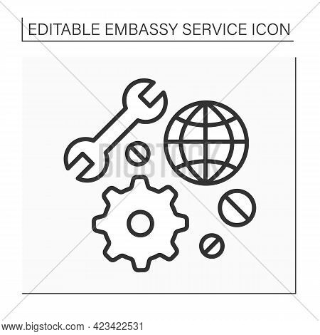 Technical Support Line Icon. Fast Help In Restoring And Repairing Equipment. Embassy Service Concept
