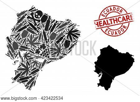 Vector Addiction Mosaic Map Of Ecuador. Rubber Health Care Round Red Badge. Concept For Narcotic Add