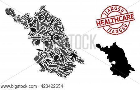 Vector Addiction Collage Map Of Jiangsu Province. Grunge Healthcare Round Red Seal Stamp. Template F