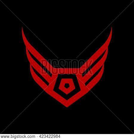 Majestic Pentagon Wings Insignia Logo Template In Flat Design Monogram Illustration