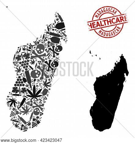 Vector Addiction Composition Map Of Madagascar Island. Grunge Healthcare Round Red Rubber Imitation.