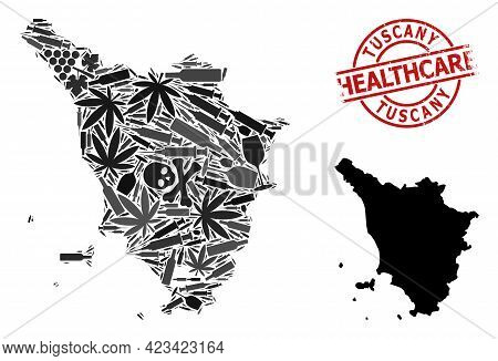 Vector Narcotic Mosaic Map Of Tuscany Region. Rubber Health Care Round Red Seal Stamp. Template For