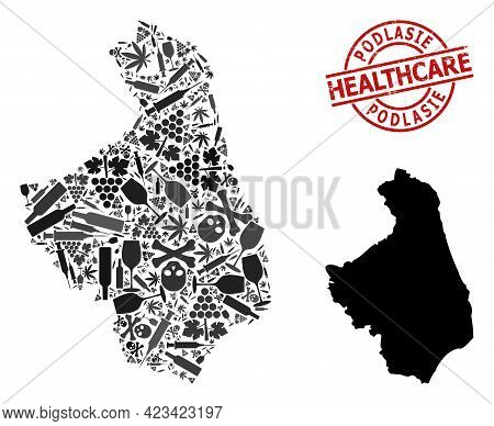 Vector Addiction Collage Map Of Podlasie Province. Scratched Health Care Round Red Imprint. Template