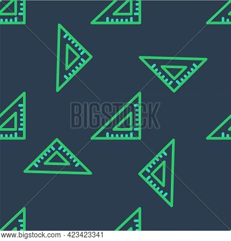 Line Triangular Ruler Icon Isolated Seamless Pattern On Blue Background. Straightedge Symbol. Geomet