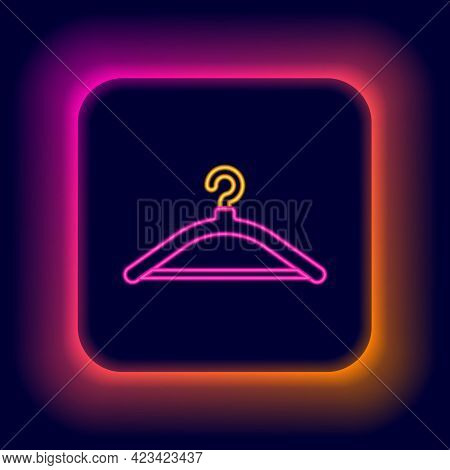 Glowing Neon Line Hanger Wardrobe Icon Isolated On Black Background. Cloakroom Icon. Clothes Service