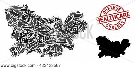 Vector Narcotic Composition Map Of Ourense Province. Rubber Health Care Round Red Imprint. Concept F