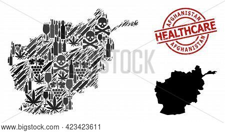 Vector Narcotic Mosaic Map Of Afghanistan. Rubber Health Care Round Red Rubber Imitation. Concept Fo