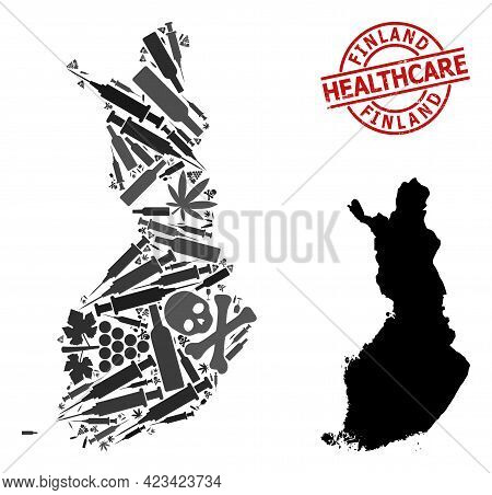 Vector Addiction Mosaic Map Of Finland. Scratched Health Care Round Red Seal. Template For Narcotic