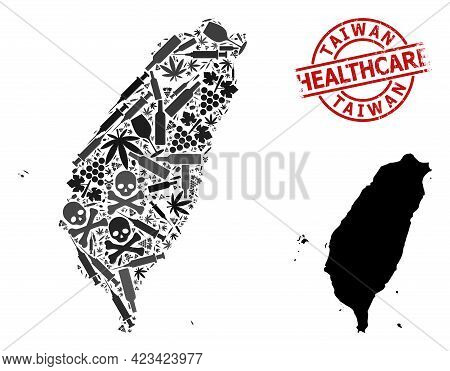 Vector Narcotic Collage Map Of Taiwan. Rubber Healthcare Round Red Watermark. Template For Narcotic