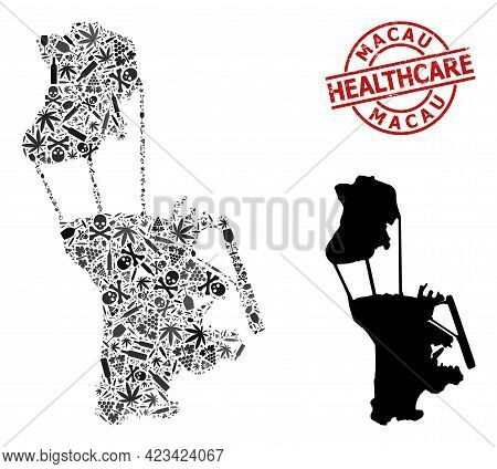 Vector Addiction Mosaic Map Of Macau. Scratched Health Care Round Red Stamp. Concept For Narcotic Ad