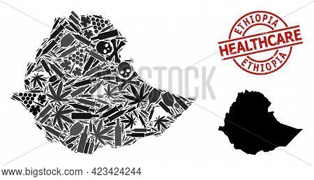 Vector Narcotic Mosaic Map Of Ethiopia. Scratched Healthcare Round Red Badge. Template For Narcotic