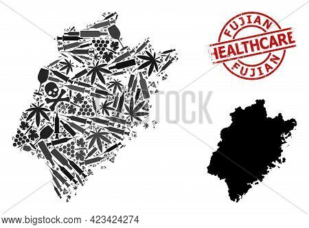 Vector Addiction Composition Map Of Fujian Province. Rubber Health Care Round Red Watermark. Templat