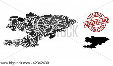 Vector Narcotic Collage Map Of Kyrgyzstan. Rubber Health Care Round Red Rubber Imitation. Template F