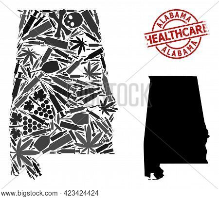 Vector Addiction Composition Map Of Alabama State. Rubber Health Care Round Red Seal Stamp. Template