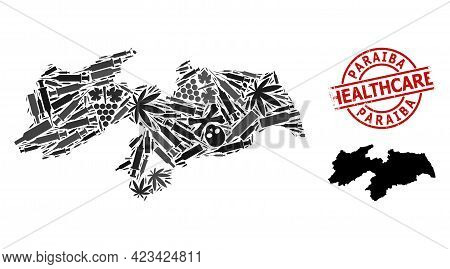 Vector Narcotic Collage Map Of Paraiba State. Grunge Healthcare Round Red Seal. Concept For Narcotic