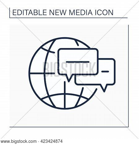 Online Forums Line Icon. Real Time Conversation. Chatting. Internet Discussion Forum. Global Network