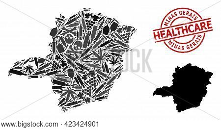 Vector Narcotic Composition Map Of Minas Gerais State. Grunge Healthcare Round Red Seal Stamp. Templ
