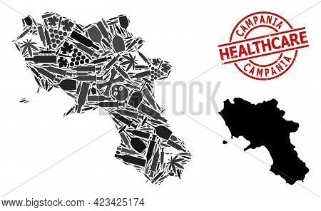 Vector Addiction Mosaic Map Of Campania Region. Grunge Health Care Round Red Watermark. Template For