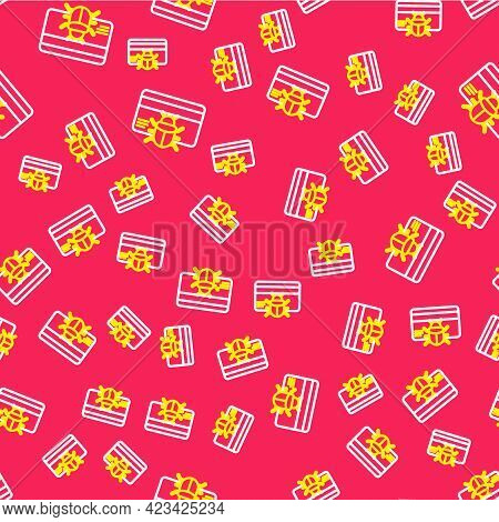 Line System Bug In Credit Card Icon Isolated Seamless Pattern On Red Background. Code Bug Concept. B