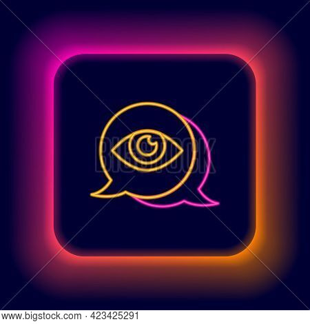 Glowing Neon Line Eye Scan Icon Isolated On Black Background. Scanning Eye. Security Check Symbol. C