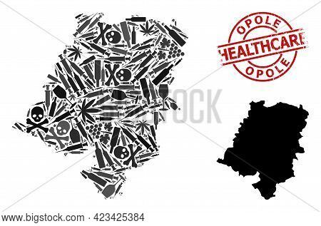 Vector Addiction Mosaic Map Of Opole Province. Grunge Healthcare Round Red Badge. Concept For Narcot