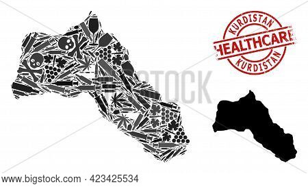 Vector Addiction Composition Map Of Kurdistan. Rubber Healthcare Round Red Seal Stamp. Concept For N