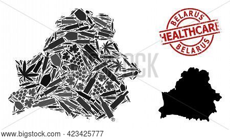 Vector Drugs Composition Map Of Belarus. Grunge Healthcare Round Red Rubber Imitation. Template For