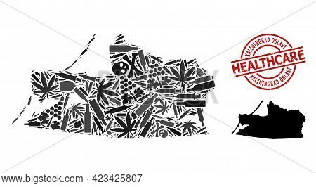 Vector Narcotic Mosaic Map Of Kaliningrad Region. Rubber Healthcare Round Red Rubber Imitation. Conc