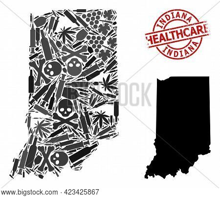 Vector Narcotic Collage Map Of Indiana State. Grunge Health Care Round Red Imprint. Concept For Narc
