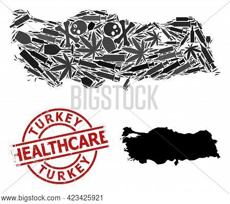 Vector Addiction Collage Map Of Turkey. Rubber Health Care Round Red Stamp. Concept For Narcotic Add