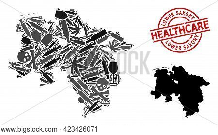Vector Addiction Mosaic Map Of Lower Saxony State. Grunge Health Care Round Red Imprint. Concept For