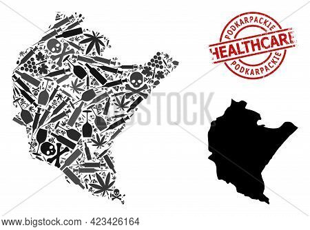 Vector Addiction Composition Map Of Podkarpackie Province. Rubber Health Care Round Red Seal Stamp.