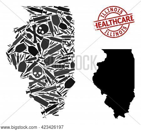 Vector Addiction Mosaic Map Of Illinois State. Scratched Healthcare Round Red Seal Stamp. Concept Fo