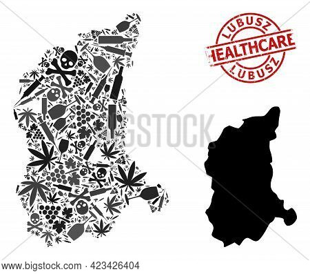 Vector Addiction Mosaic Map Of Lubusz Province. Scratched Health Care Round Red Stamp. Template For