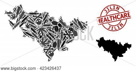 Vector Narcotic Collage Map Of Jilin Province. Rubber Health Care Round Red Rubber Imitation. Templa