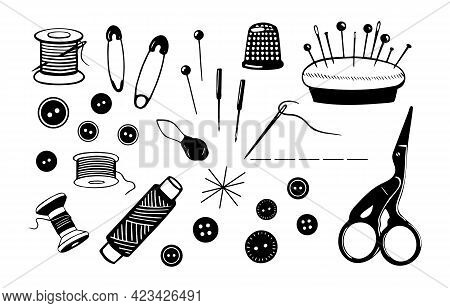 Set Of Sewing And Embroidery Tools And Materials. Different Sewing Needlework Elements Isolated On W