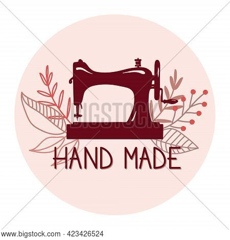 Icon Or Logo Of Vintage Sewing Machine With Modern Floral Decor. Flat Vector Illustration For Tailor